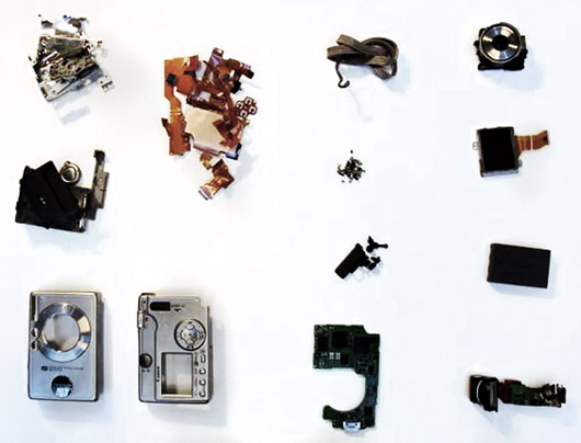 disassembled digital camera